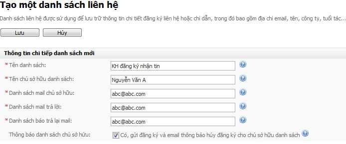 Tạo danh sách email